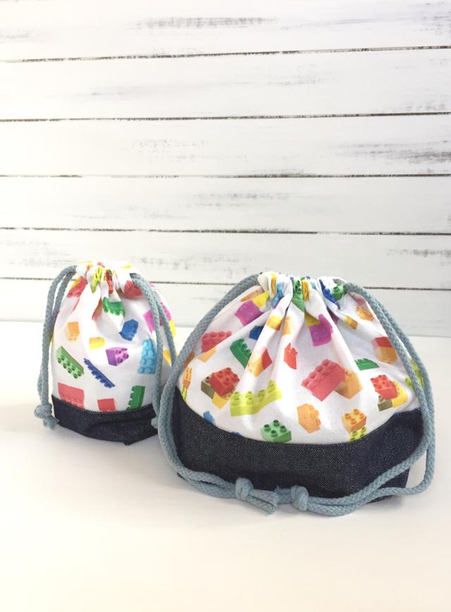 ☆Xmas Sale☆ たくさんのブロックのお弁当袋とコップ袋