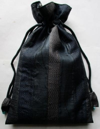 着物リメイク 藍大島で作った巾着袋 1835