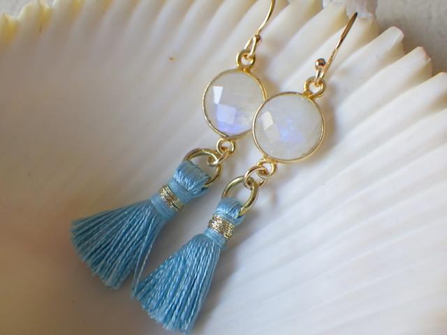 Moonstone&Tassel earrings  14kgf