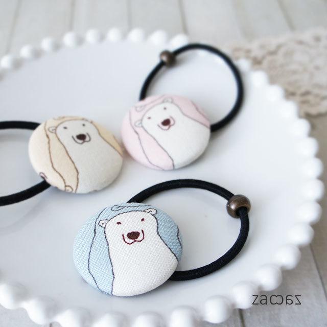 【販売終了】くるみボタンのヘアゴム3個*白クマさん