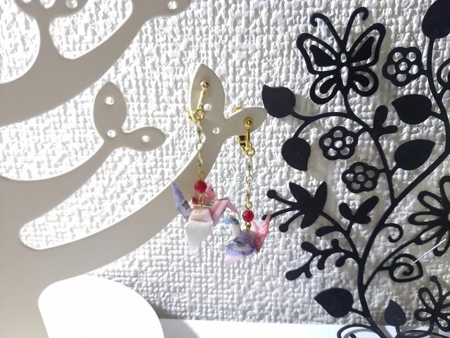 【再販】鶴の折り紙ピアス&イヤリング(桃)