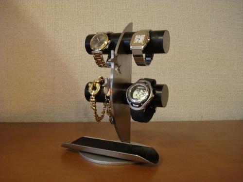 プレゼントに!ブラック4本掛け丸パイプ飛び出す★トレイ三日月腕時計スタンド ak-design