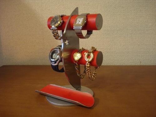 誕生日プレゼントに!レッド4本掛け丸パイプ飛び出す★トレイ三日月腕時計スタンド ak-design