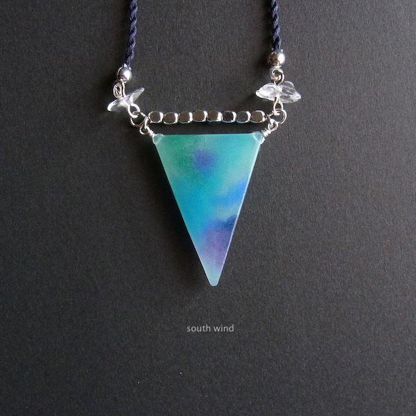 【水彩】と天然石のネックレス《Blue×P...