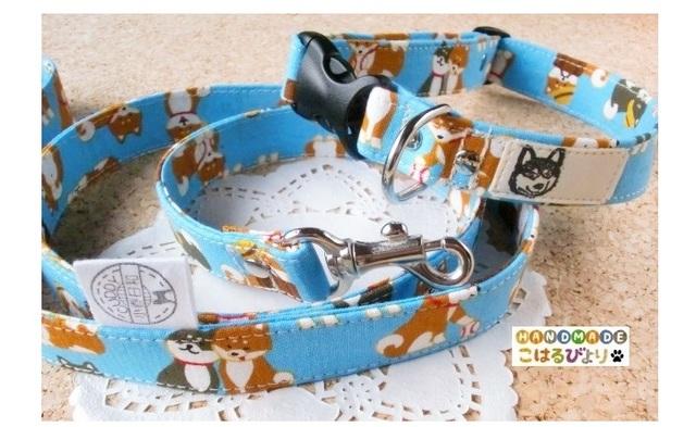 コロコロ柴犬の首輪とリードセット(受注制作 カラー6色あり)