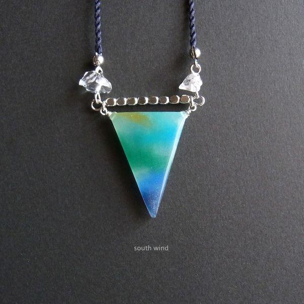 【水彩】と天然石のネックレス《Blue×O...