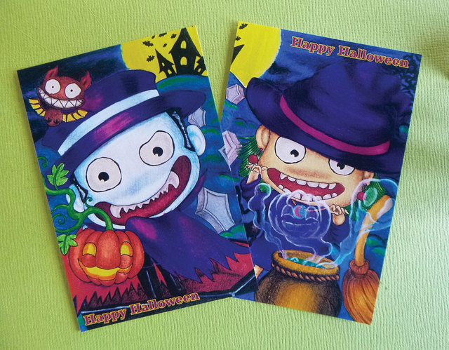 ハロウィンポストカード☆2枚セット1組...