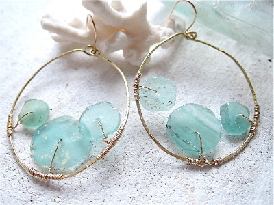 Roman Glass Sea Form hoop earrings