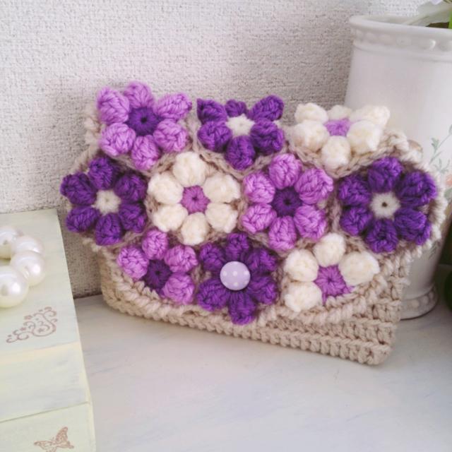 お花モチーフのクラッチバッグ パープル【送料込】
