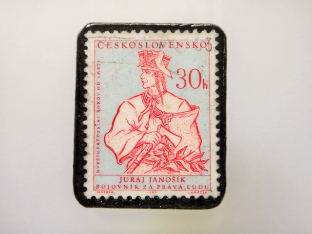 チェコスロバキア  切手ブローチ1493