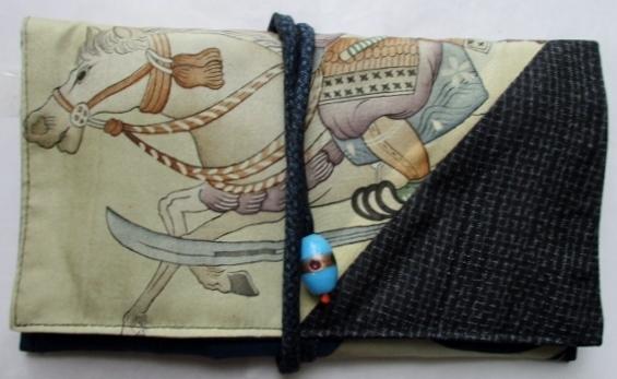 着物リメイク お宮参り着と藍大島で作った和風財布 1840