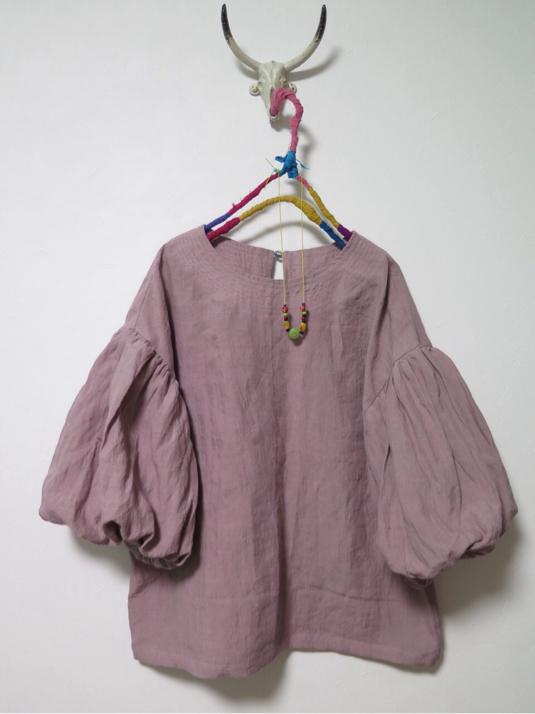 秋色ボリューム袖ブラウス   ピンク色