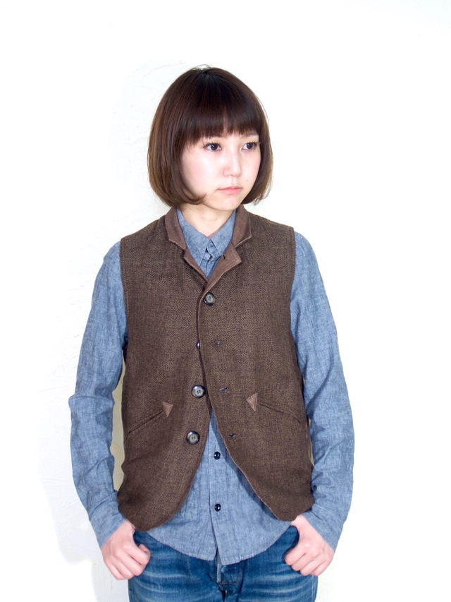 ojisan vest Women size/ brown