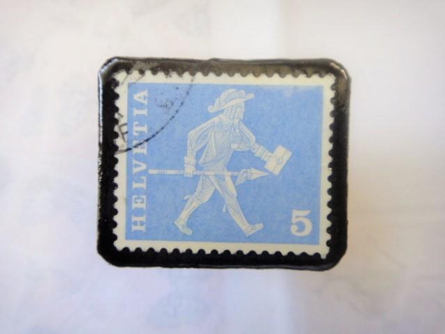 スイス  切手ブローチ1518