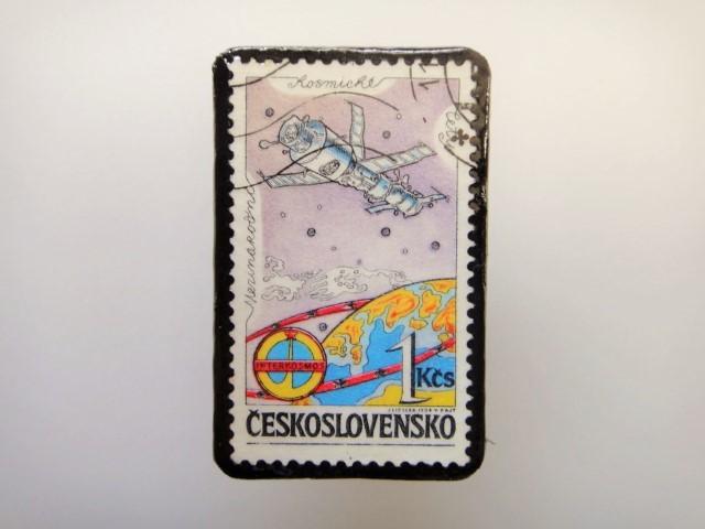 チェコスロバキア  切手ブローチ1520