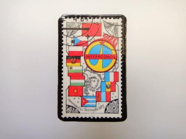 チェコスロバキア  切手ブローチ1522