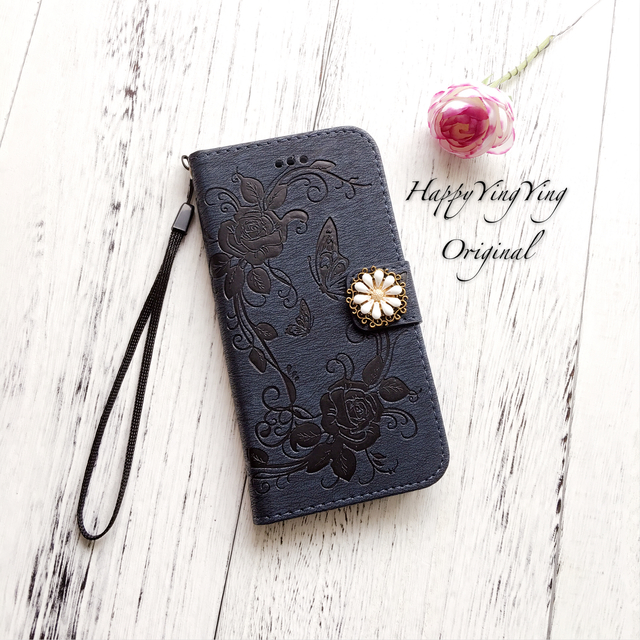【iphoneSE/5/5S】高級エレガント手帳型ケース【紺色】