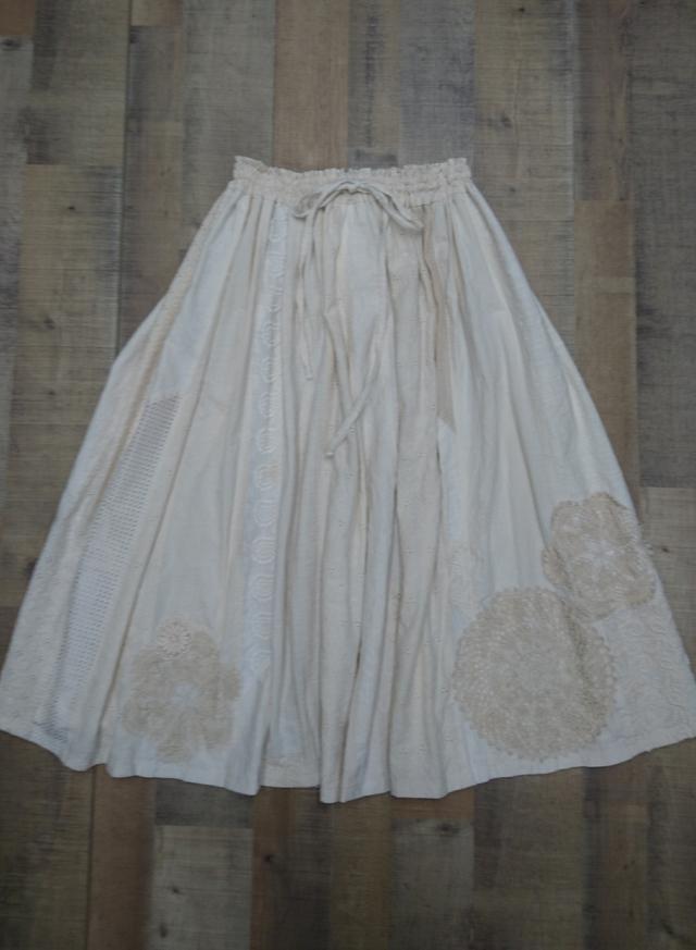 紅茶染・シャビーシックなロングスカート