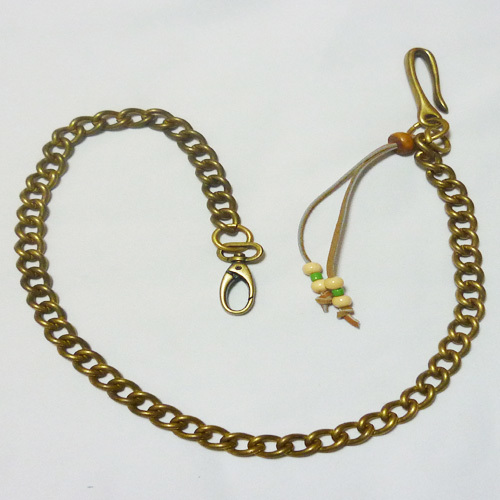 真鍮製 革紐飾り付 ウォレットチェーン