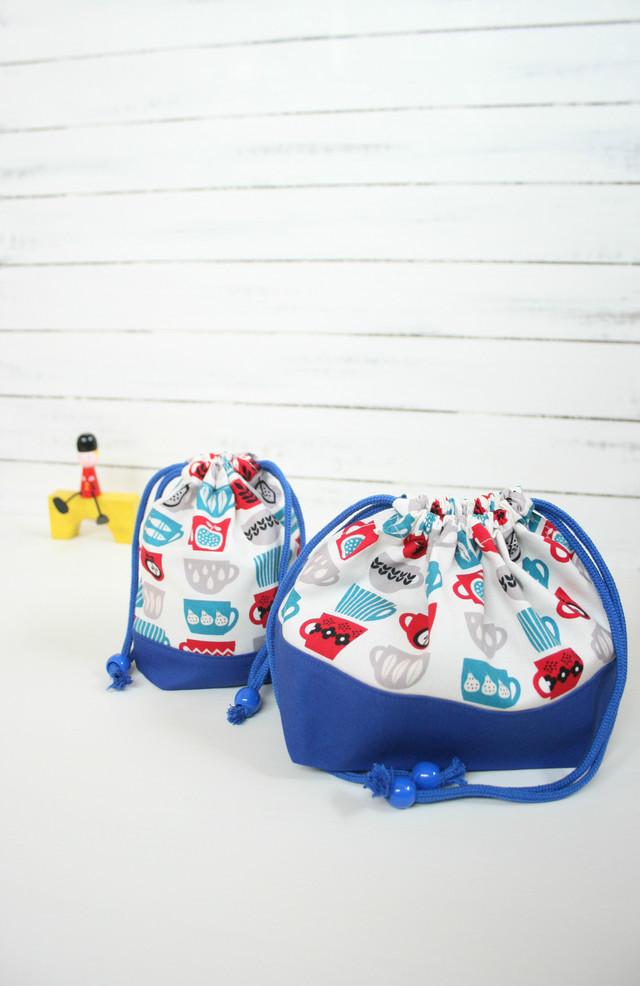 入園入学準備 コーヒーカップのお弁当袋とコップ袋