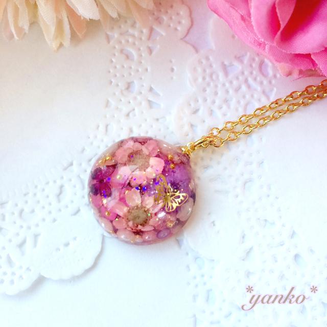 お花の宝石のネックレス ピンク