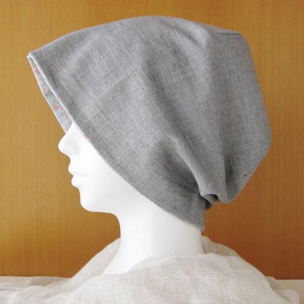 夏に涼しく下地にもなる ゆったりガーゼ帽子  ネイビー/花柄 (CGR-005-NF)