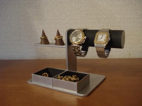 プレゼント!丸パイプ、ブラック腕時計、リング、トレイアクセサリースタンド ak-design
