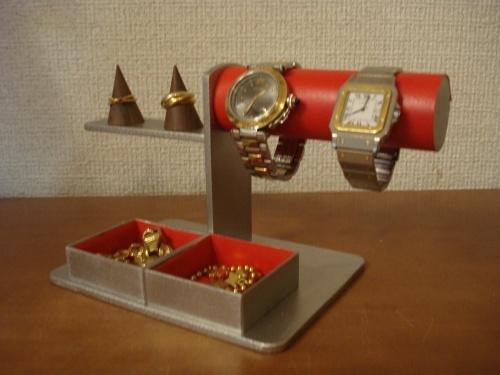 誕生日プレゼントに!レッド、丸パイプ腕時計、リング、トレイアクセサリースタンド ak-design