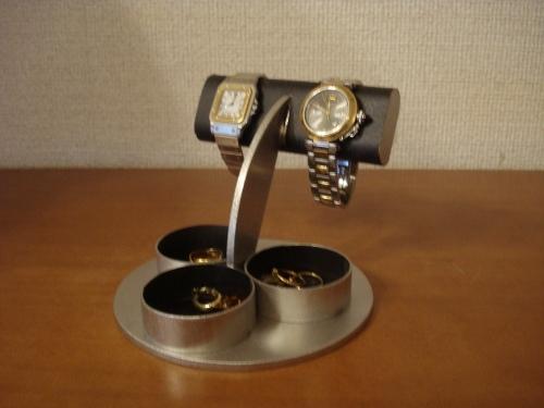 プレゼントに!だ円パイプ三つの丸い小物入れ付き腕時計スタンド ak-design