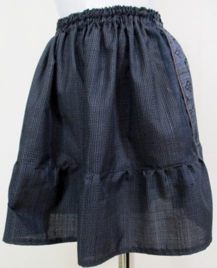 着物リメイク 藍大島で作ったミニスカート 1842