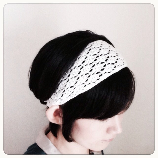 透かし編みの幅広ヘアバンド【再販】