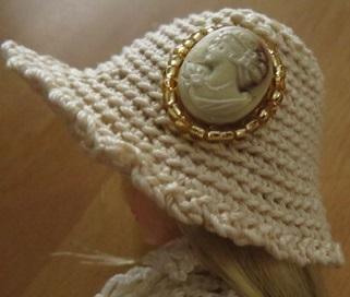 【帽コレ2016summer】ストローハット風のドール用のお帽子【カメオS93】