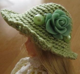 【帽コレ2016summer】ストローハット風のドール用のお帽子【S95】
