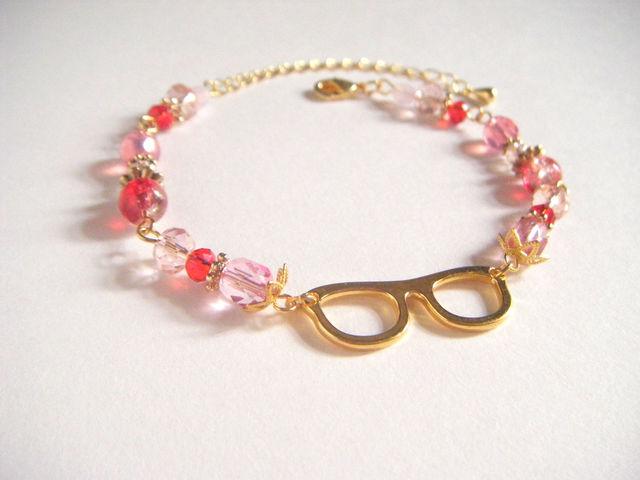 メガネなブレスレット(レッド×ピンク色)