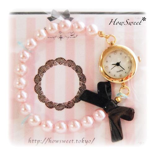 【HowSweet*】パール×リボンの上品でお洒落なブレスレット腕時計 [Pink×黒]