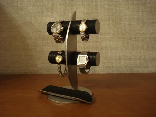 腕時計スタンド 三日月ブラック丸パイプ腕時計ディスプレイスタンド ロングトレイ ak-design