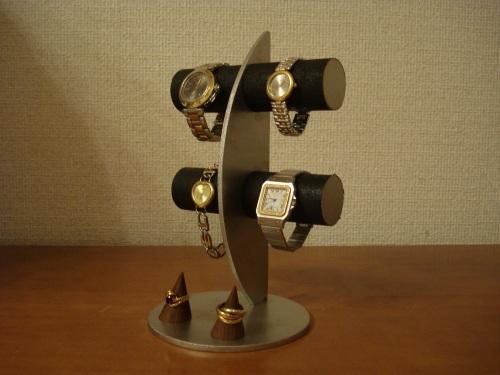 腕時計スタンド 三日月ブラック丸パイプ腕時計ディスプレイスタンド 指輪スタンドバージョン ak-design