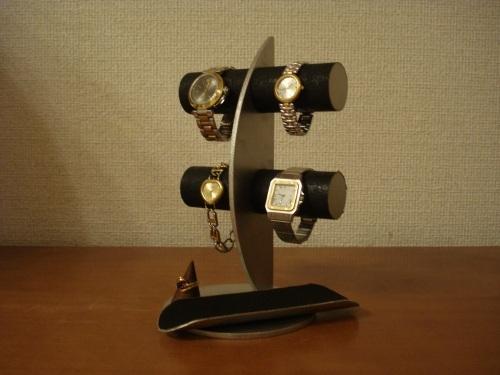 腕時計スタンド 三日月ブラック丸パイプ腕時計ディスプレイスタンド トレイ、指輪スタンドバージョン ak-design