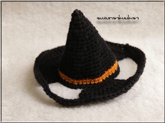 【猫用】ハロウィン帽子090<黒×橙>