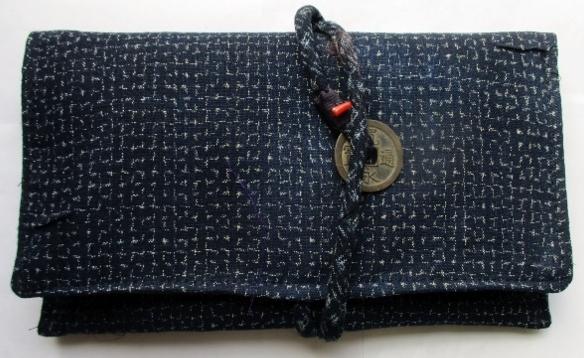 着物リメイク 男絣で作った和風財布 1844