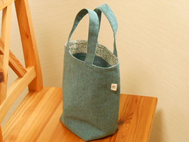 さわやか綿麻ブルーグリーンの小花柄トートバッグ(小)