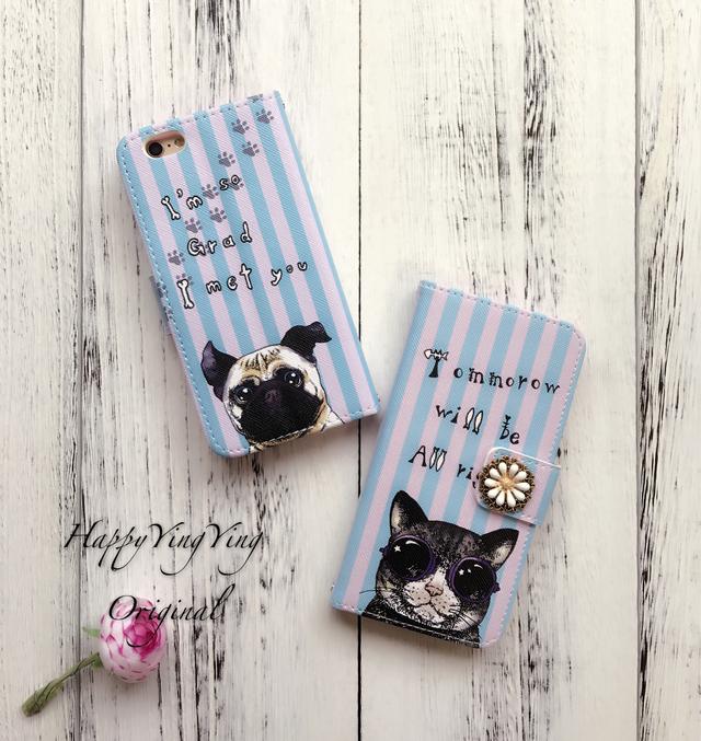 SALE!【iphone6/iphone6S】猫と犬手帳型ケース