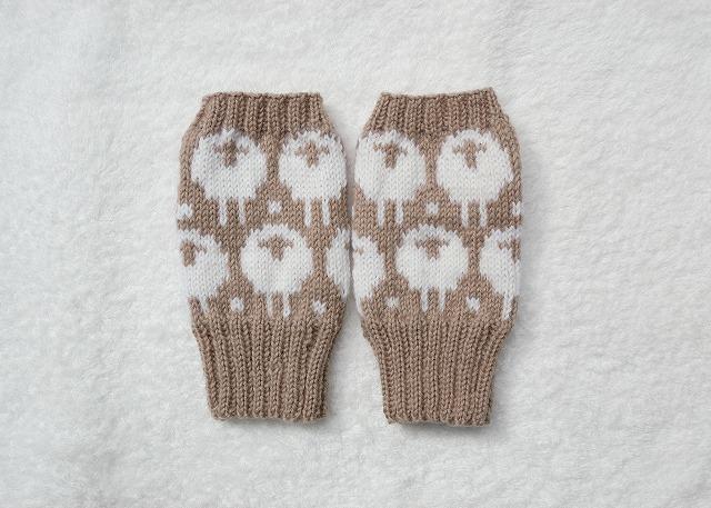 【さんし様リクエスト品】手編みの指なしミトン【ひつじ】