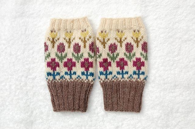 【anaana4141さまリクエスト品】手編みの指なしミトン 【野の花】