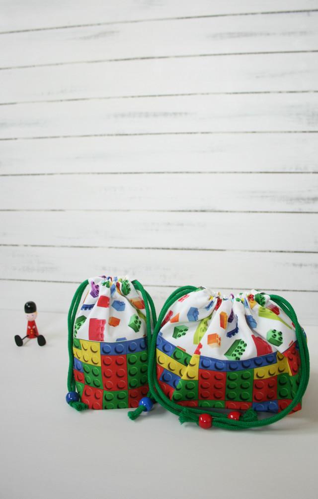 kana20kana26様オーダー品 ブロックだらけのお弁当袋とコップ袋