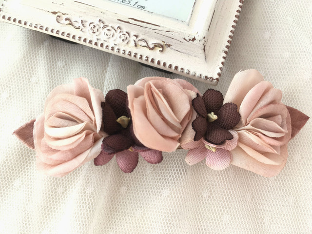 バラとスミレのバレッタ chic pink