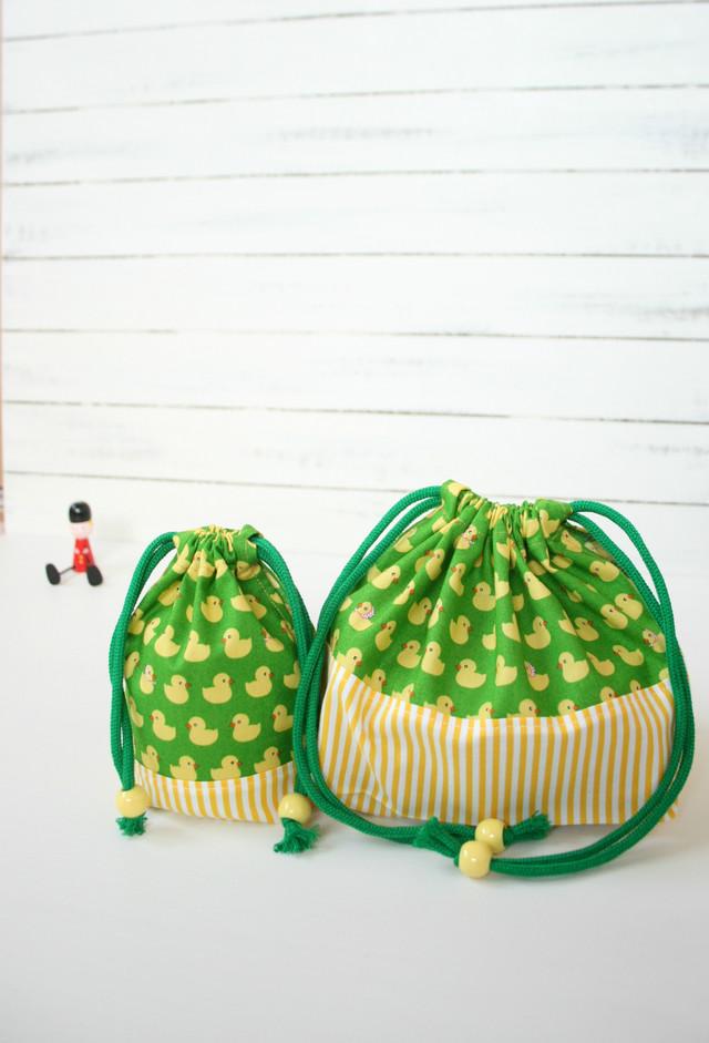 入園入学準備 ひよこの行列のお弁当袋とコップ袋