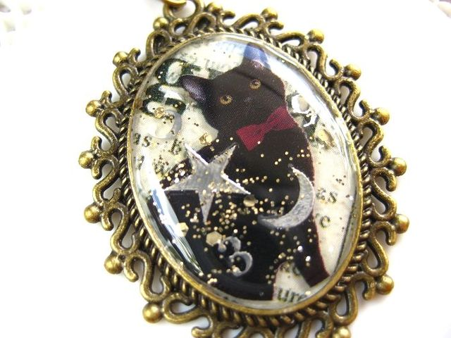 赤い蝶ネクタイの黒猫紳士ロングネックレス_367 s4  19p
