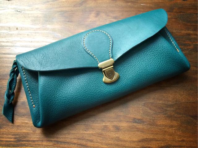 【受注製作(納期約1ヶ月)】長財布 「series-envelope」イタリアンレザー*ターコイズ