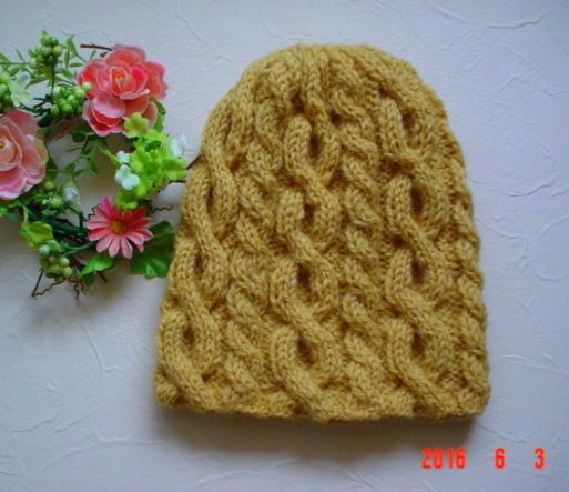 ☆彡パピーの毛糸 ケーブルとバスケット柄のアラン模様の帽子